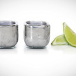 Stainless Steel Shot Glasses by Uncommon Good filled with reusable freeze gel and hand-polished exterior