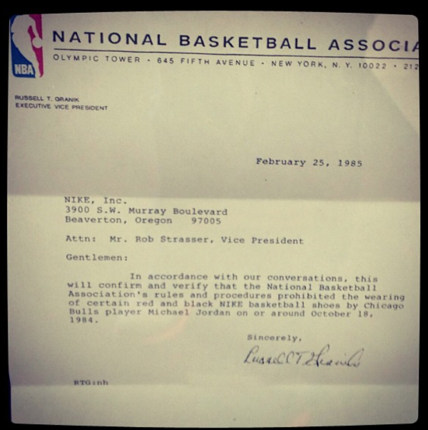 NBA and David Stern issue letter to Nike banning Air Jordans