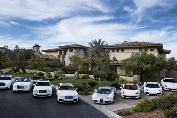 Lamborghinis, Ferraris, Rolls Royces, and Bugattis . Mayweather has them all.